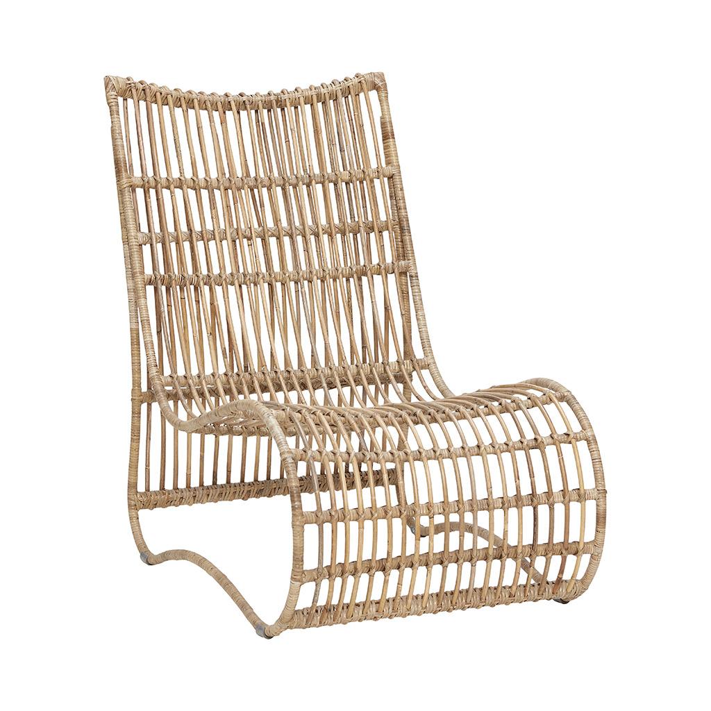 Кресло-качалка из ротанга натурального цвета