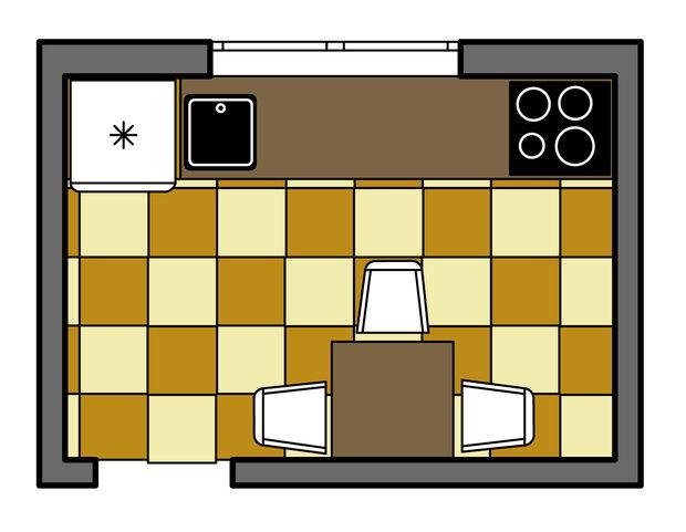 Фотография: Планировки в стиле , Кухня и столовая, Интерьер комнат, Перепланировка, kuhnya-8-kv-metrov, П-111М, И-79-99, П44т – фото на InMyRoom.ru