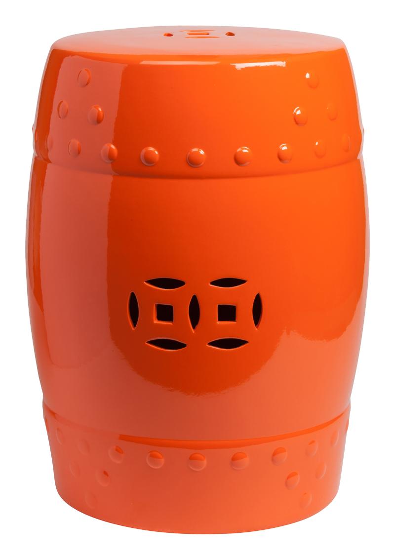 Керамический столик-табурет Garden Stool Orange в виде барабана