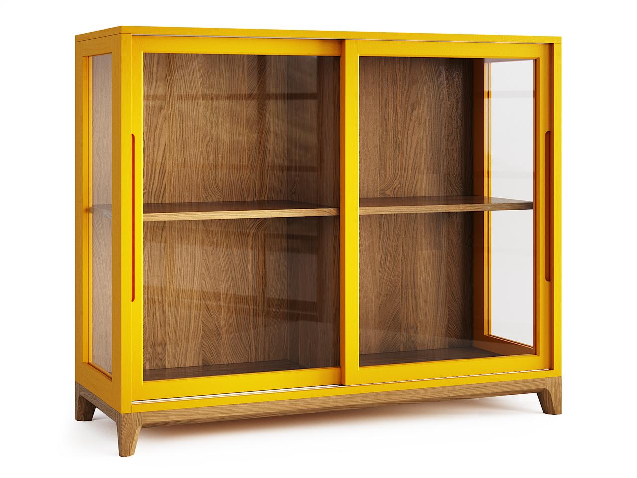Низкая витрина Case натуральный дуб / шафрановый