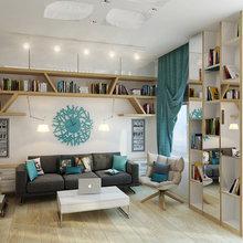 Фотография: Гостиная в стиле Современный, Малогабаритная квартира, Квартира, Хранение, Мебель и свет, Дома и квартиры, Проект недели – фото на InMyRoom.ru