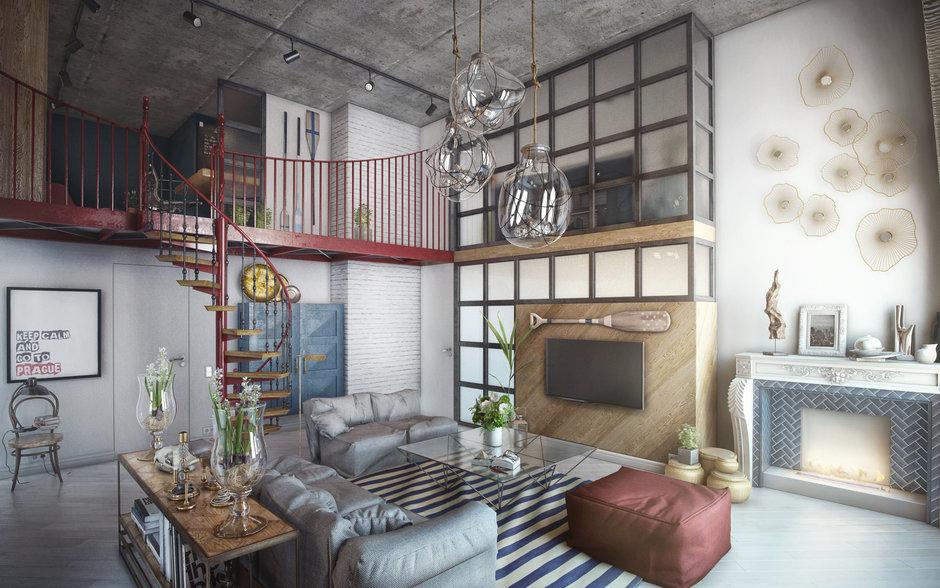 Фотография: Гостиная в стиле Лофт, Квартира, Проект недели, Москва, ToTaste Studio, Монолитный дом, 4 и больше, 60-90 метров, ЖК «Соколиный форт» – фото на InMyRoom.ru