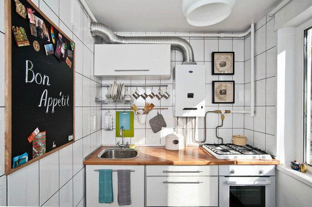 Фотография: Кухня и столовая в стиле Скандинавский, Малогабаритная квартира, Квартира, Дома и квартиры, Белый, Проект недели – фото на InMyRoom.ru