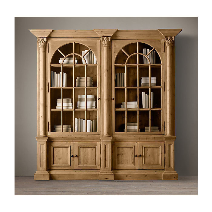 Закрытый книжный шкаф palladian salvaged pine double.