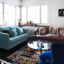 Фотография: Гостиная в стиле Кантри, Малогабаритная квартира, Квартира, Дома и квартиры, Гардероб, Принт, Библиотека, Окна – фото на InMyRoom.ru