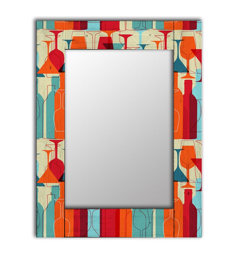 Настенное зеркало винный квартал в раме из массива сосны 90х90