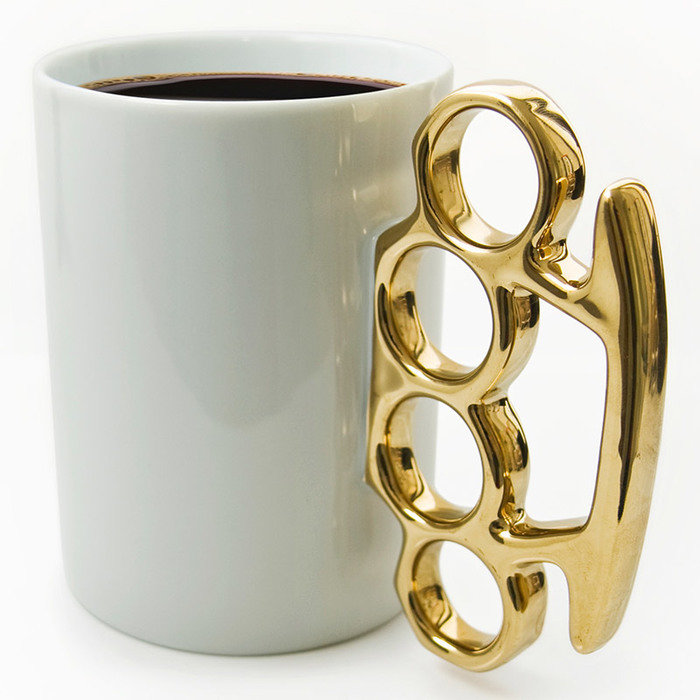 Кружка knuckle белая/золотистая