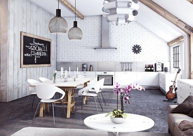 Фотография: Кухня и столовая в стиле Скандинавский, Прованс и Кантри, Лофт, Декор, Советы, Ремонт на практике, кирпич в интерьере, покраска кирпичной стены, кирпичная стена, кирпичная стена в интерьере, краска для кирпичной стены – фото на InMyRoom.ru