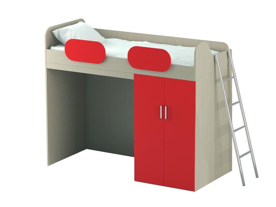 Кровать-чердак с нижним шкафом Mio