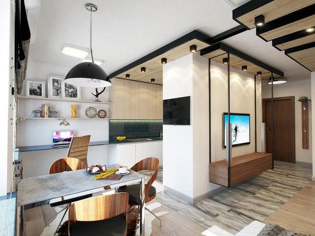 Фотография: Кухня и столовая в стиле Лофт, Современный, Малогабаритная квартира, Квартира, Дома и квартиры – фото на InMyRoom.ru
