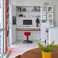 Фотография: Офис в стиле Современный, Квартира, Цвет в интерьере, Дома и квартиры, Белый, Панорамные окна – фото на InMyRoom.ru