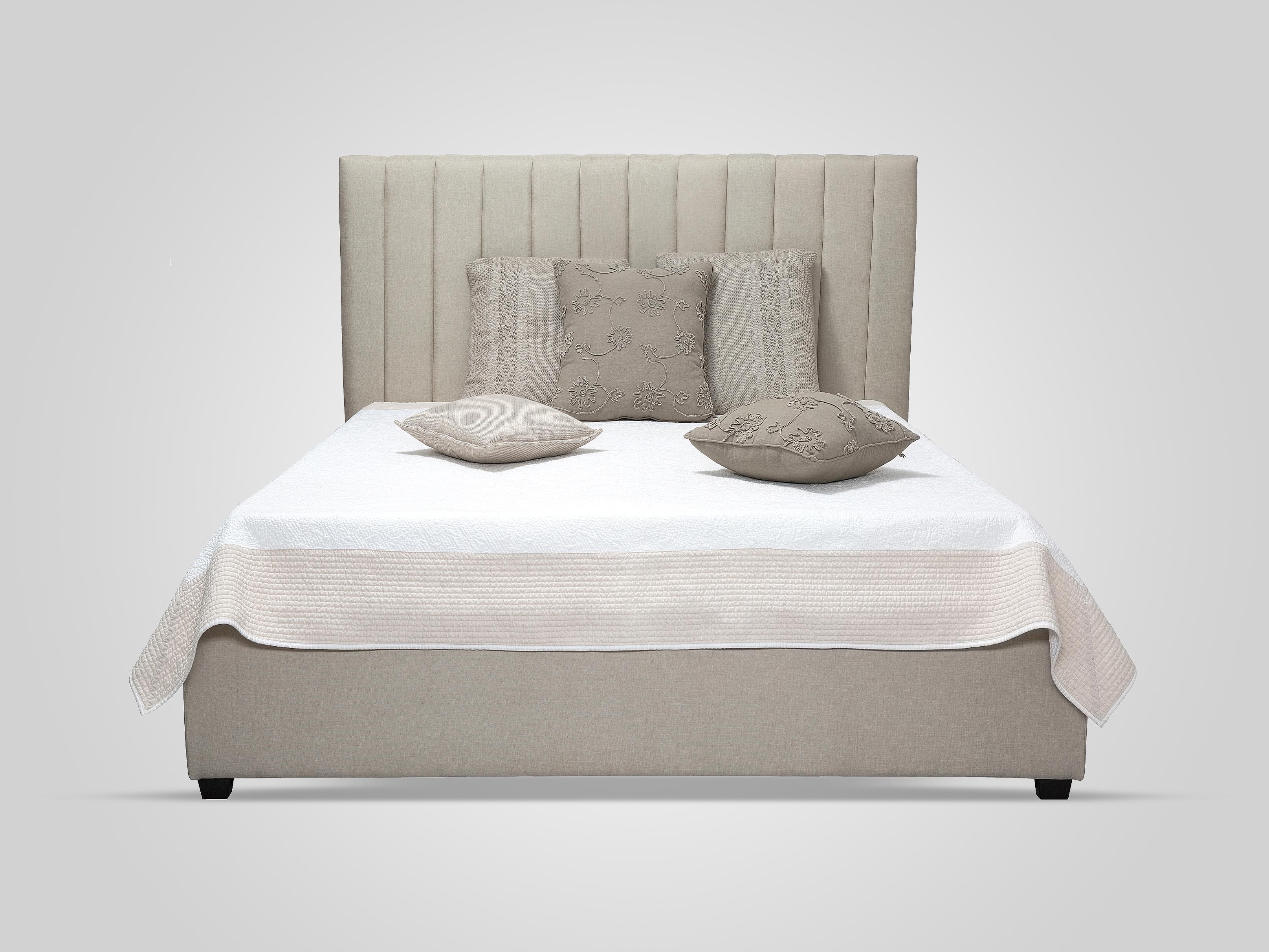 Кровать с обивкой из ткани бежевого цвета 180х200
