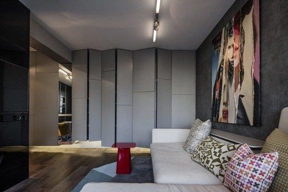 Фотография: Гостиная в стиле Лофт, Современный, Малогабаритная квартира, Квартира, Цвет в интерьере, Дома и квартиры, Серый, Умный дом, Будапешт – фото на InMyRoom.ru