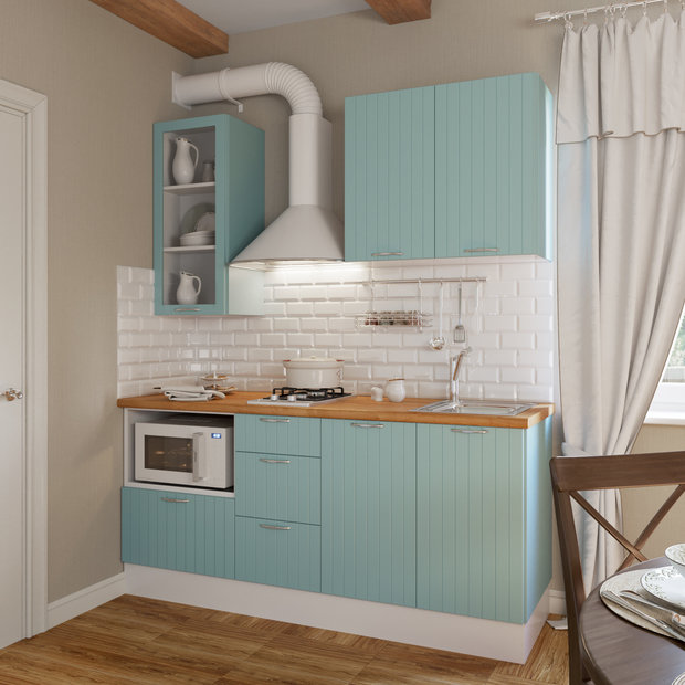 Прямая кухня «Фенс» в мятном цвете, Leroy Merlin