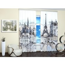 Фотошторы для гостиной: Пейзаж Парижа