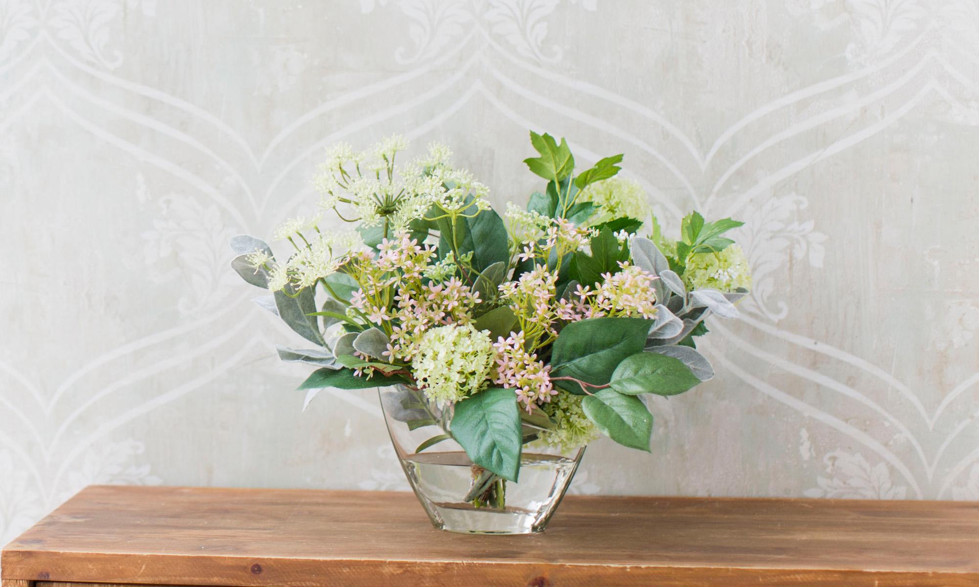 Купить Композиция из искусственных цветов - соцветия укропа, вибурнум, салал, inmyroom, Россия