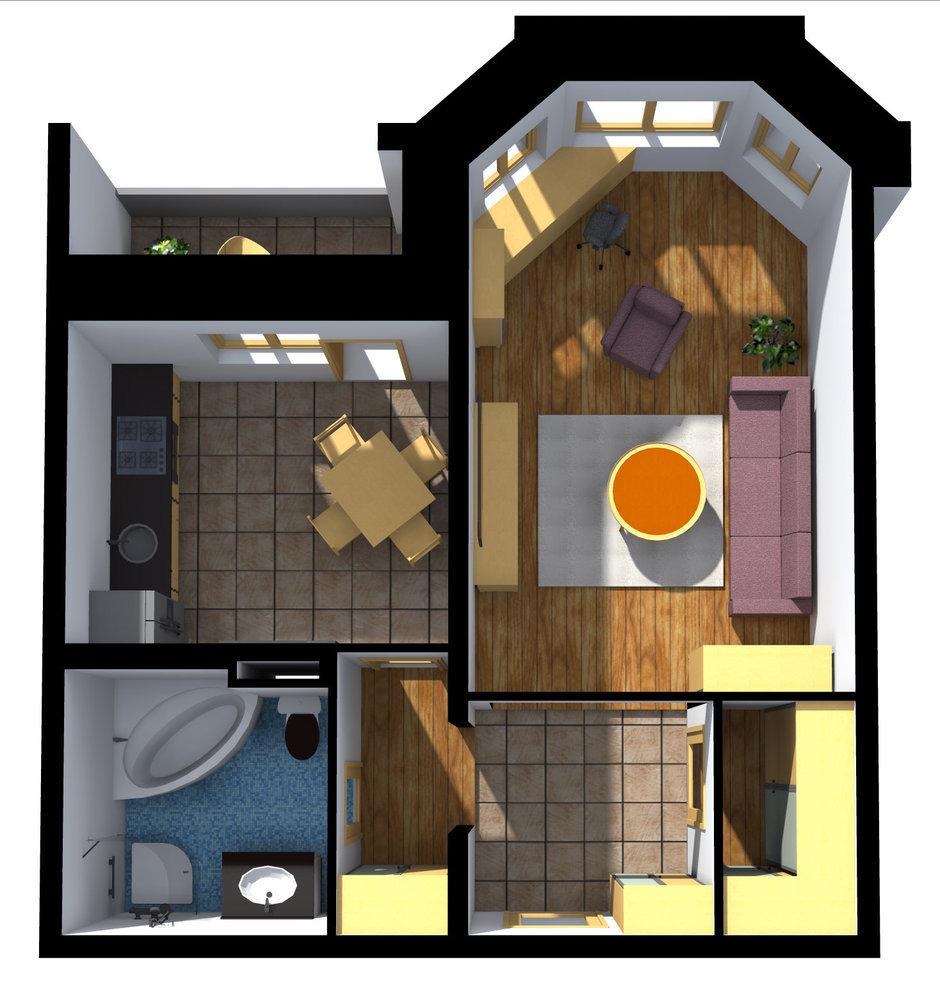 Фотография: Планировки в стиле , Квартира, Дома и квартиры, Перепланировка, Переделка, И-79-99, Панельный дом, 1 комната, 40-60 метров – фото на InMyRoom.ru