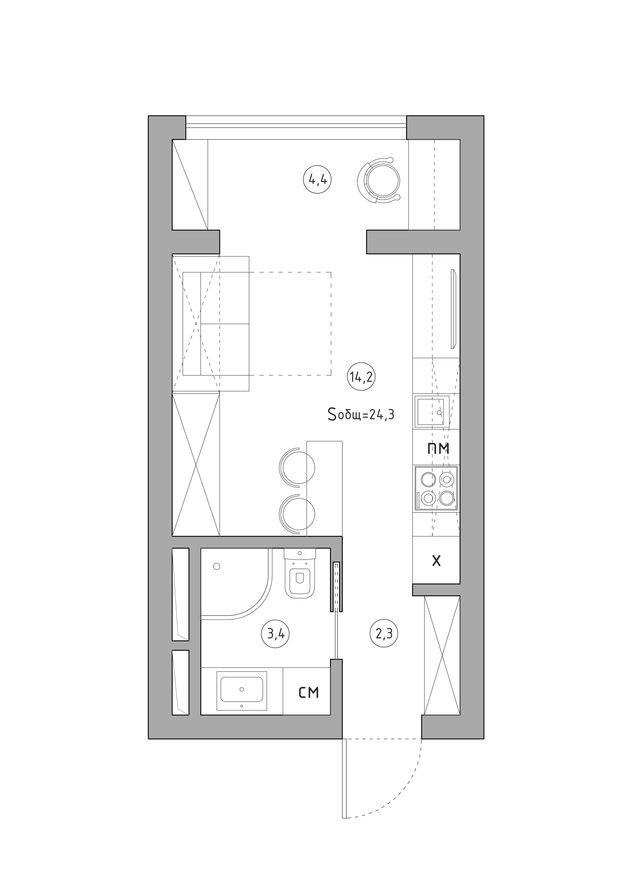 Фотография: Планировки в стиле , Квартира, Перепланировка, перепланировка однушки, 1 комната, до 40 метров, энциклопедия_перепланировка, Анастасия Шарапова – фото на INMYROOM