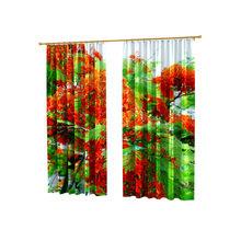 Стильные фотошторы: Красно-зеленая листва