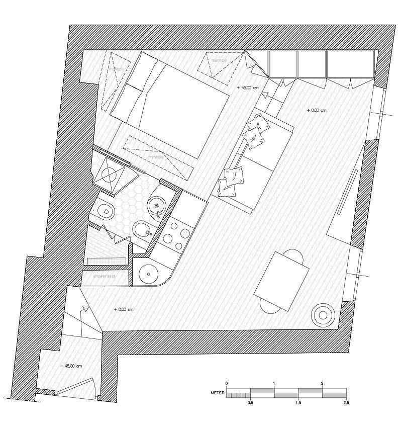 Фотография: Планировки в стиле , Малогабаритная квартира, Квартира, Италия, Дома и квартиры – фото на InMyRoom.ru