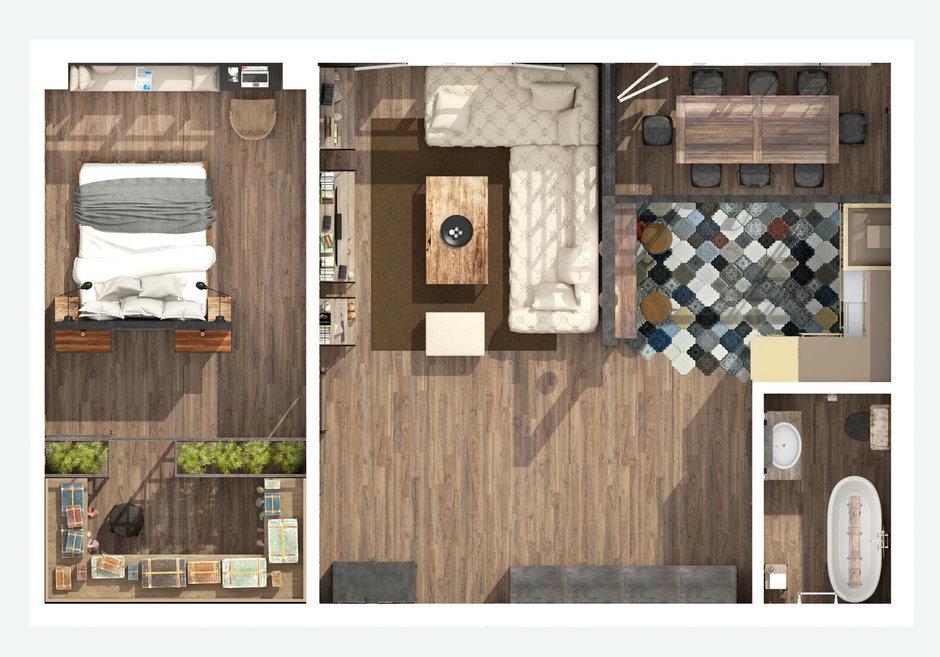 Фотография: Планировки в стиле , Лофт, Квартира, Дома и квартиры, Проект недели, Перепланировка, Переделка, КТ – фото на InMyRoom.ru