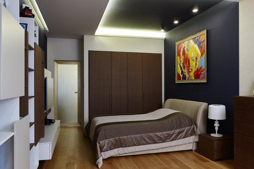 Потолочные балки в спальной комнате