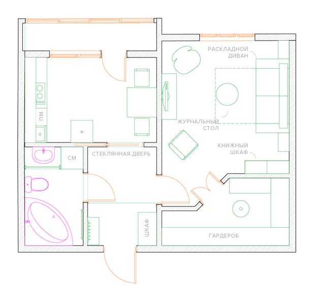 Фотография: Планировки в стиле , Малогабаритная квартира, Квартира, Перепланировка, П-43, Панельный дом, 1 комната, до 40 метров – фото на InMyRoom.ru