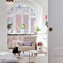 Фотография: Гостиная в стиле Скандинавский, Квартира, Швеция, Цвет в интерьере, Дома и квартиры, Белый, Шебби-шик – фото на InMyRoom.ru