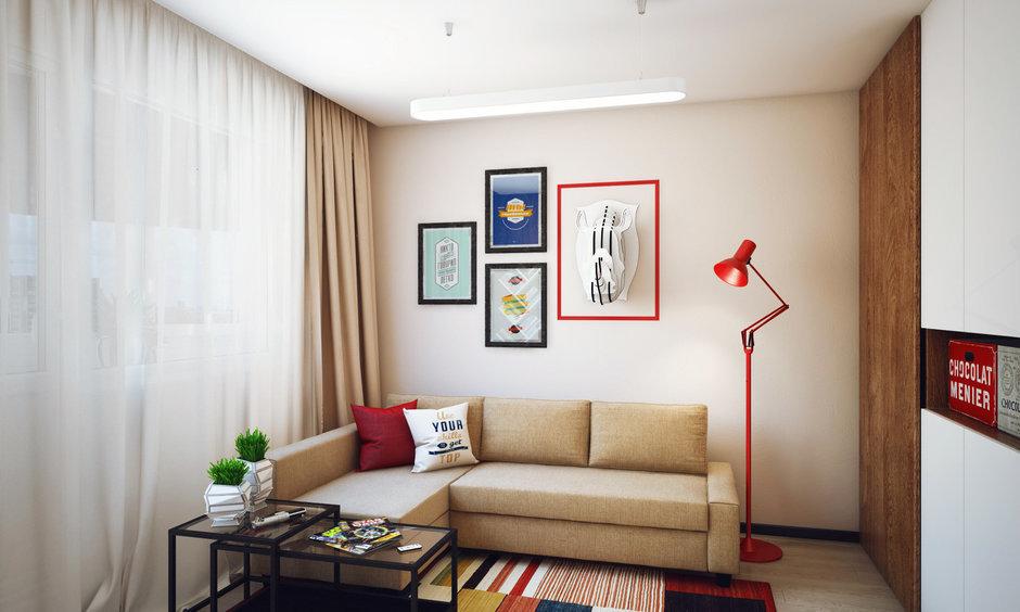 Фотография: Гостиная в стиле Лофт, Современный, Малогабаритная квартира, Квартира, Дома и квартиры, Проект недели – фото на InMyRoom.ru