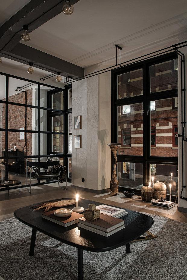 Фотография: Гостиная в стиле Лофт, Декор интерьера, Швеция, Белый, Черный, Стокгольм, 2 комнаты, 40-60 метров – фото на InMyRoom.ru