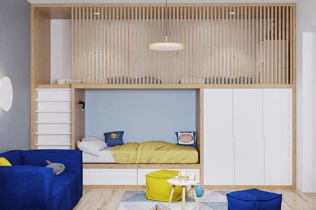 Фотография: Детская в стиле Современный, Квартира, Проект недели, Geometrium, Более 90 метров, Kronospan – фото на INMYROOM