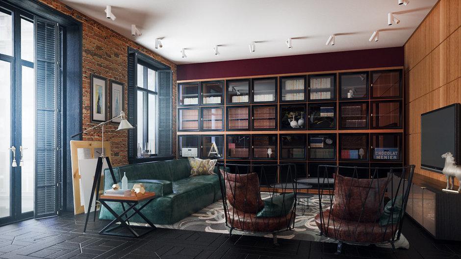 Фотография: Гостиная в стиле Лофт, Квартира, Дома и квартиры, Проект недели, Ар-деко – фото на InMyRoom.ru