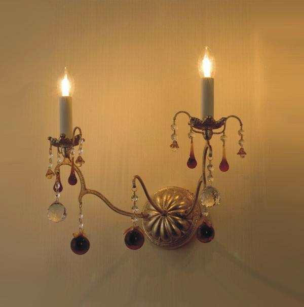 Купить Бра Ming Wangh с подвесками и кулонами из прозрачного хрусталя и янтарного муранского стекла, inmyroom, Китай