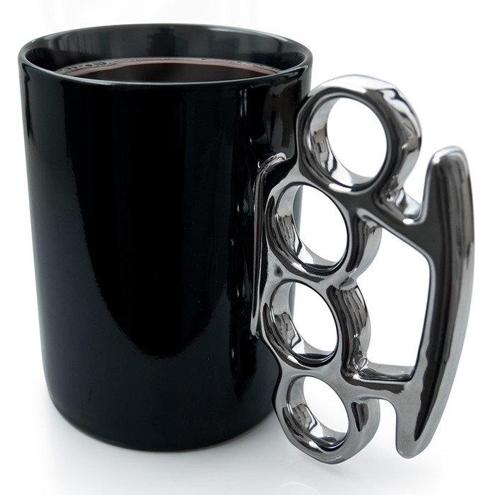 Кружка knuckle черная/серебристая