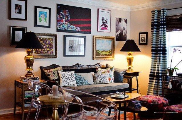 Фотография: Гостиная в стиле Эклектика, Интерьер комнат, Картины, Зеркало – фото на InMyRoom.ru