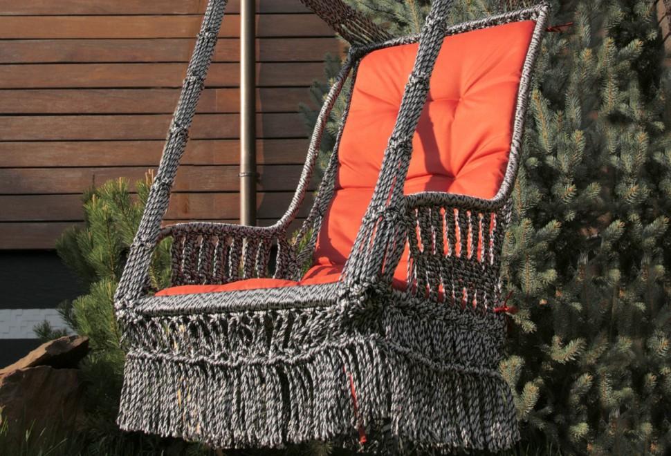 Купить Подвесное кресло-качели инка с подушкой бежево-коричневое, inmyroom, Китай