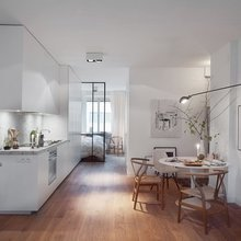 Фотография: Кухня и столовая в стиле Скандинавский, Современный, Малогабаритная квартира, Студия, Белый – фото на InMyRoom.ru