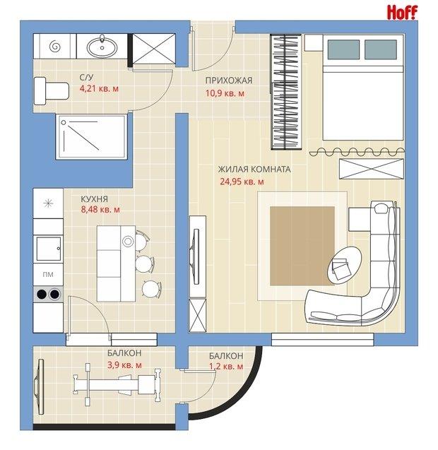 Фотография: Планировки в стиле , Квартира, HOFF, Перепланировка, HOFF, Анастасия Киселева, П-111М, Панельный дом, 1 комната, 40-60 метров – фото на InMyRoom.ru