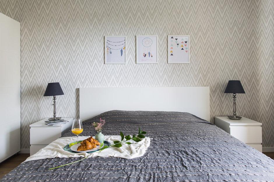 Фотография: Спальня в стиле Современный, Скандинавский, Квартира, Проект недели, Одинцово, Кирпичный дом, 2 комнаты, 60-90 метров, Flatforfox – фото на InMyRoom.ru