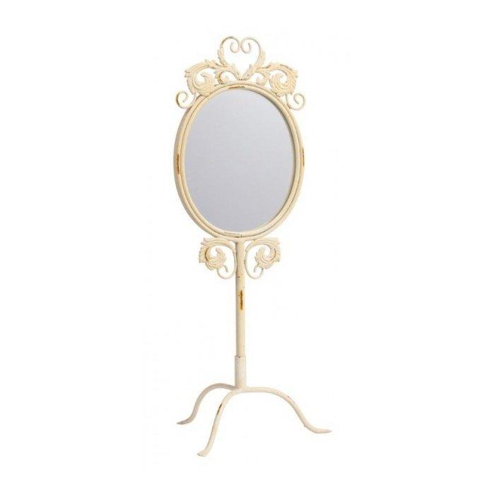 Настольное зеркало в металлической кремовой оправе