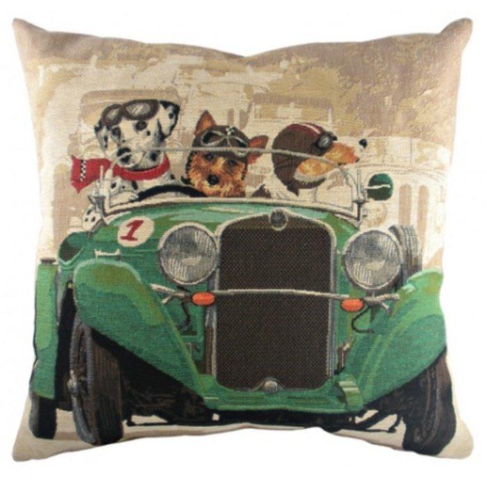 """Подушка с принтом """"Doggie Drivers Green"""""""
