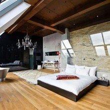 Фотография: Спальня в стиле Лофт, Эклектика, Дизайн интерьера, Стена, Библиотека, Будапешт – фото на InMyRoom.ru