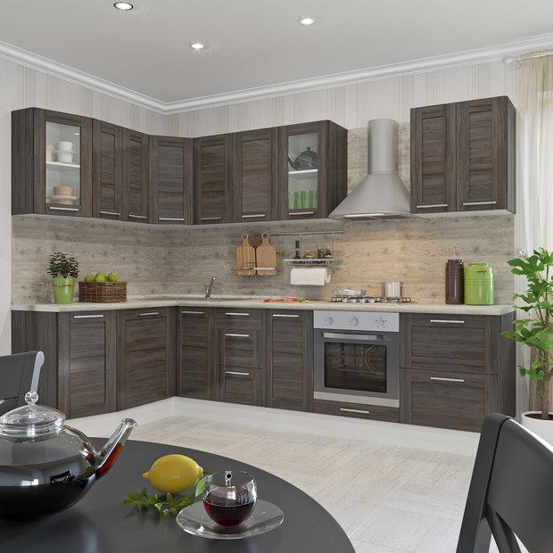 Угловая кухня «Фрейм темный», Leroy Merlin