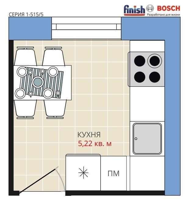 Фотография:  в стиле , Кухня и столовая, BOSCH, Перепланировка, Анастасия Киселева, Панельный дом, Finish, 1 комната, до 40 метров, I-515/5 – фото на InMyRoom.ru