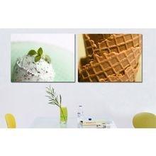 Красивый диптих на холсте: Мороженое