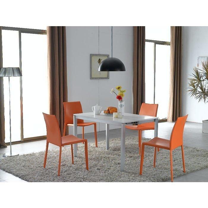 Стол консольно-обеденный с белой глянцевой столешницей (трансформер)