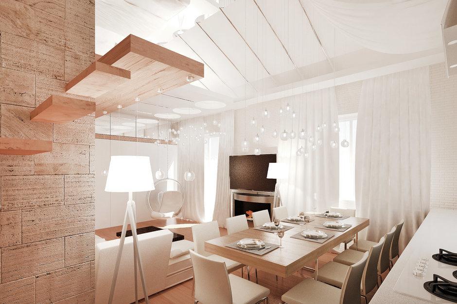 Фотография: Кухня и столовая в стиле Современный, Квартира, Дома и квартиры, Проект недели, Мансарда – фото на InMyRoom.ru