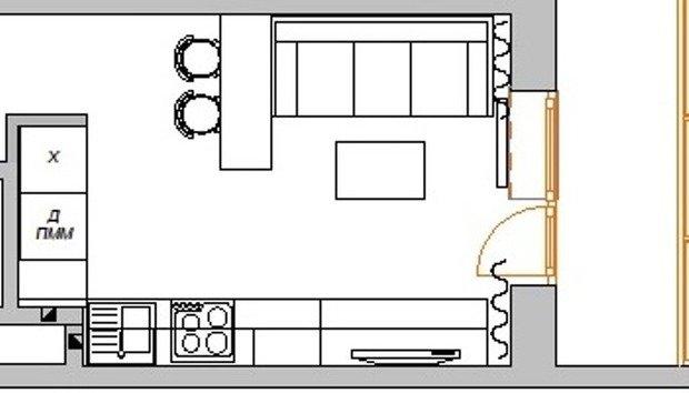 Фотография: Планировки в стиле , Кухня и столовая, Гостиная, Малогабаритная квартира, Квартира, Интерьер комнат, Фотообои – фото на InMyRoom.ru