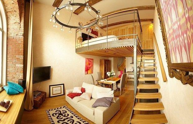 Фотография: Гостиная в стиле Прованс и Кантри, Спальня, Малогабаритная квартира, Квартира, Дома и квартиры, Перепланировка – фото на InMyRoom.ru