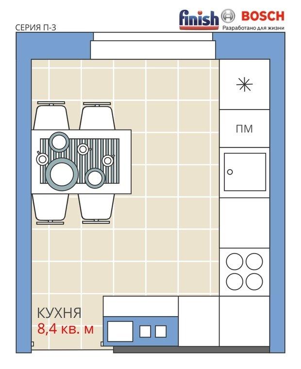 Фотография:  в стиле , Кухня и столовая, Перепланировка, Анастасия Киселева, Максим Джураев, Панельный дом, П-3, Finish – фото на InMyRoom.ru